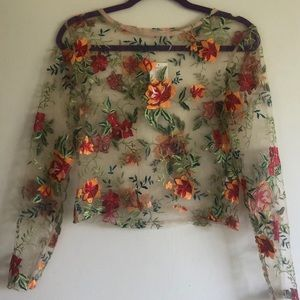 Urban Outfitters Lace Long Sleeve Top - Floral